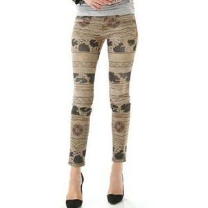 Current Elliot - Khaki Tribal Print Skinny Jeans